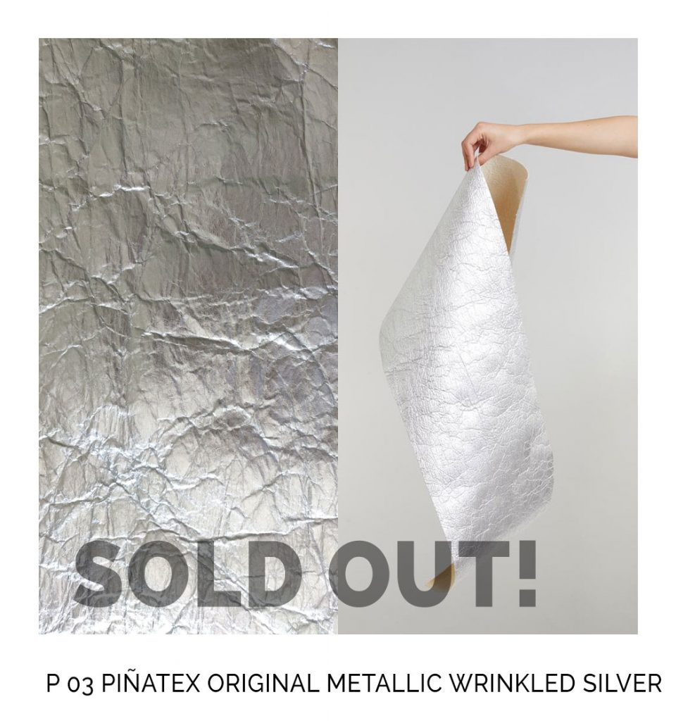 Pinatex original wrinkled silver